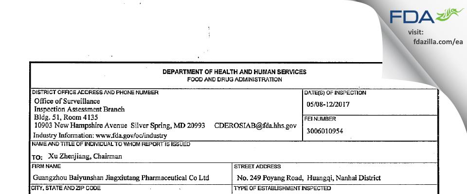 Guangzhou Baiyunshan JingxiuTang Pharmaceutical FDA inspection 483 May 2017