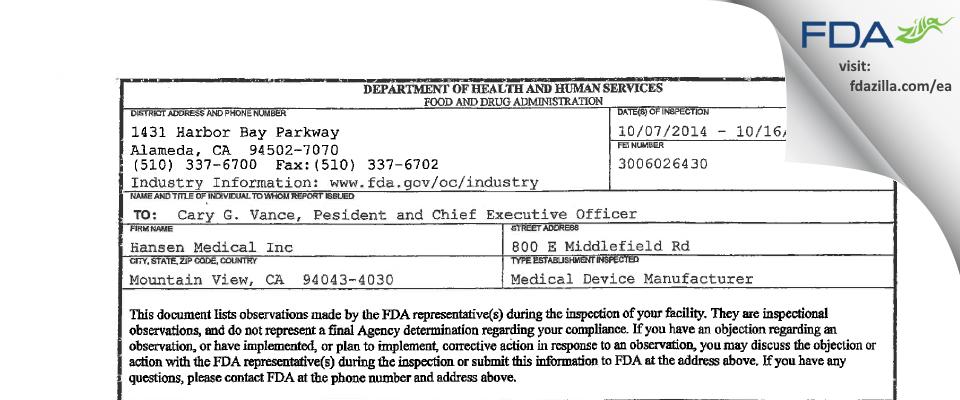 Hansen Medical FDA inspection 483 Oct 2014