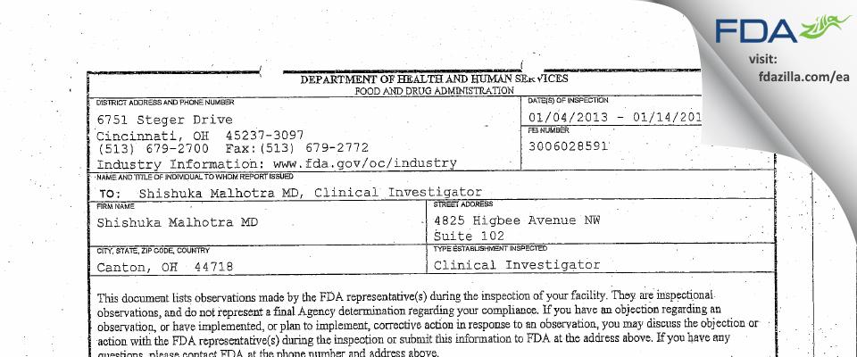 Shishuka Malhotra MD FDA inspection 483 Jan 2013