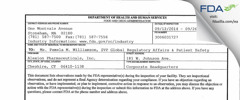 Alexion Pharmaceuticals FDA inspection 483 Sep 2014