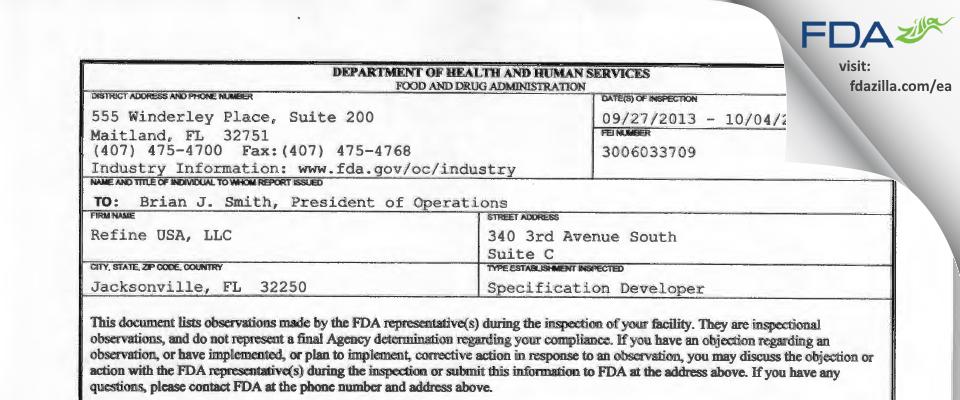 Refine USA FDA inspection 483 Oct 2013