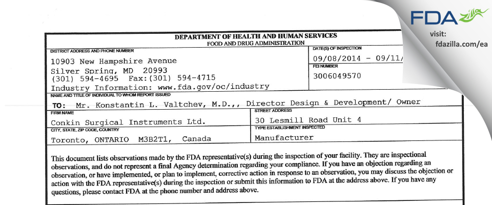 Conkin Surgical Instruments FDA inspection 483 Sep 2014