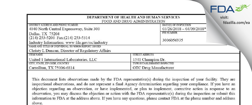 United 1 International Labs FDA inspection 483 Apr 2018