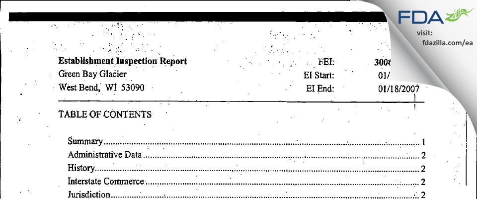 Green Bay Glacier FDA inspection 483 Jan 2007