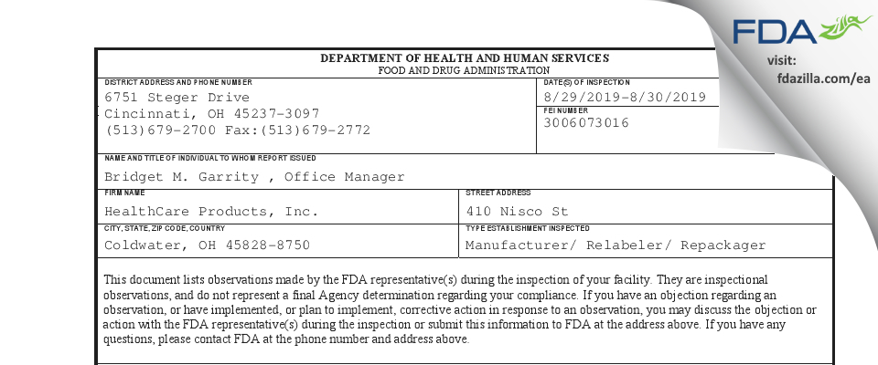HealthCare Products FDA inspection 483 Aug 2019