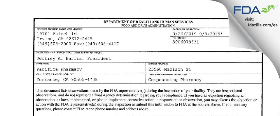 Pacifica Pharmacy FDA inspection 483 Sep 2019