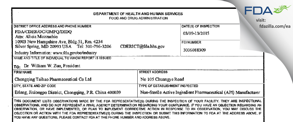 Chongqing Taihao Pharmaceutical FDA inspection 483 Mar 2015