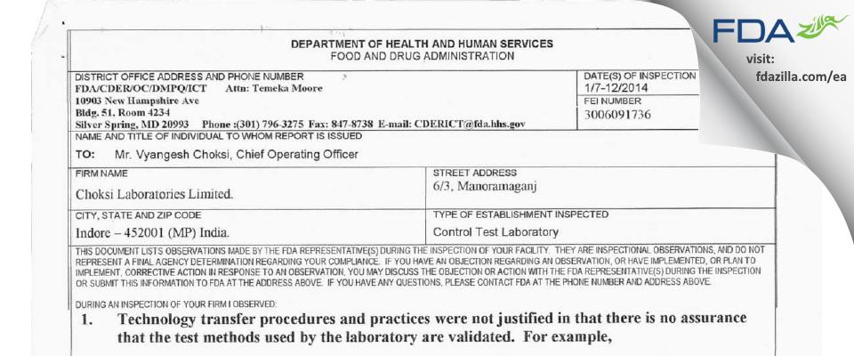 Choksi Labs FDA inspection 483 Jan 2014