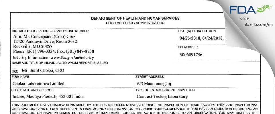 Choksi Labs FDA inspection 483 Apr 2018