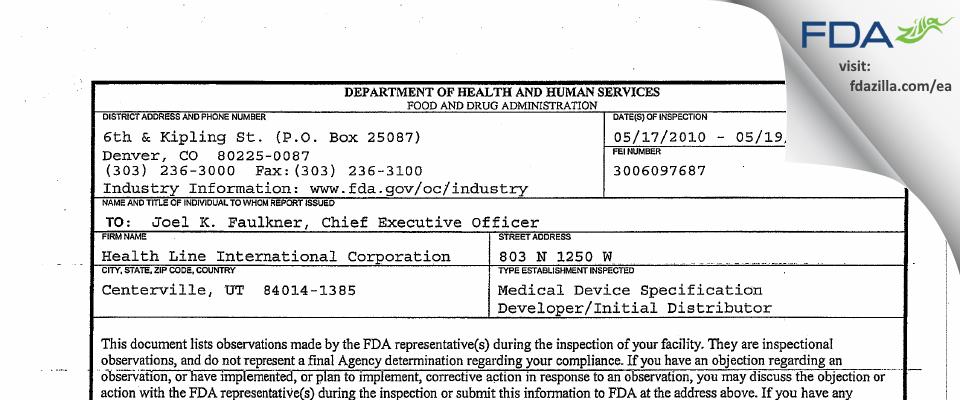 Health Line International FDA inspection 483 May 2010