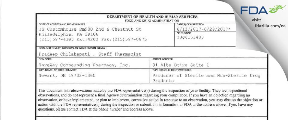 SaveWay Compounding Pharmacy FDA inspection 483 Jun 2017