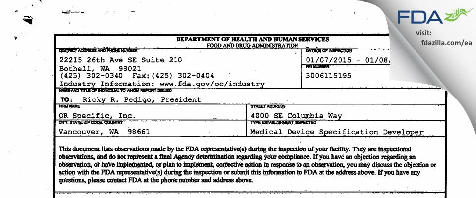 OR Specific FDA inspection 483 Jan 2015