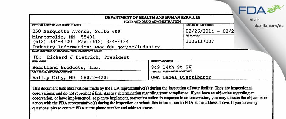 Heartland Products FDA inspection 483 Feb 2014