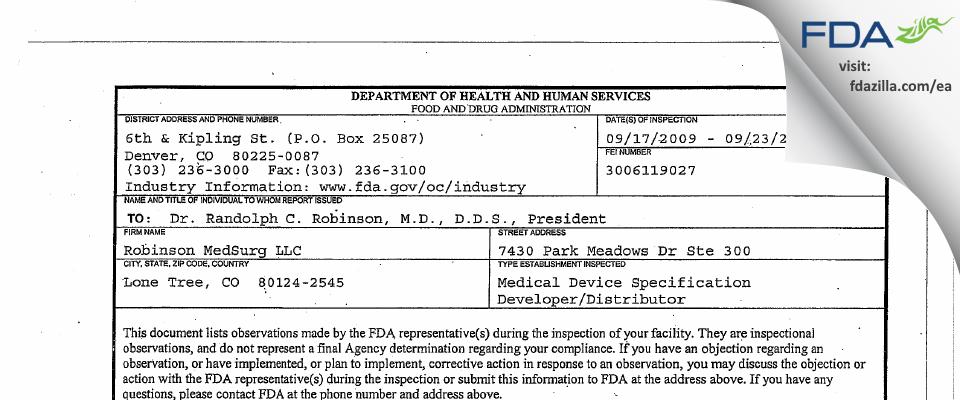 Robinson MedSurg FDA inspection 483 Sep 2009