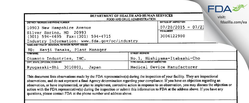 Okamoto Industries FDA inspection 483 Jul 2015