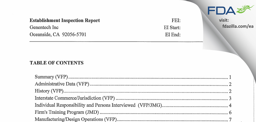 Genentech FDA inspection 483 May 2013