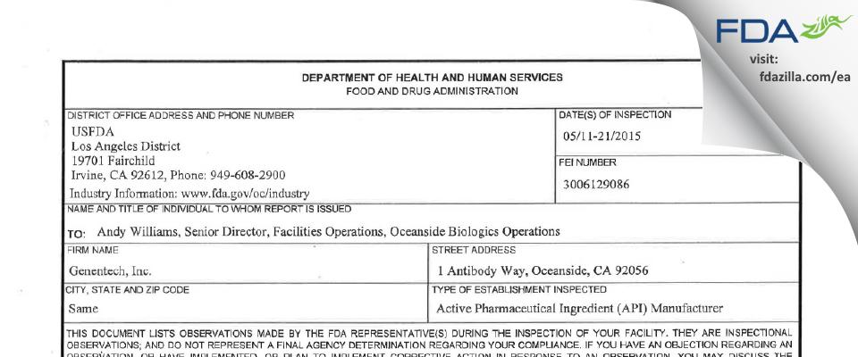 Genentech FDA inspection 483 May 2015