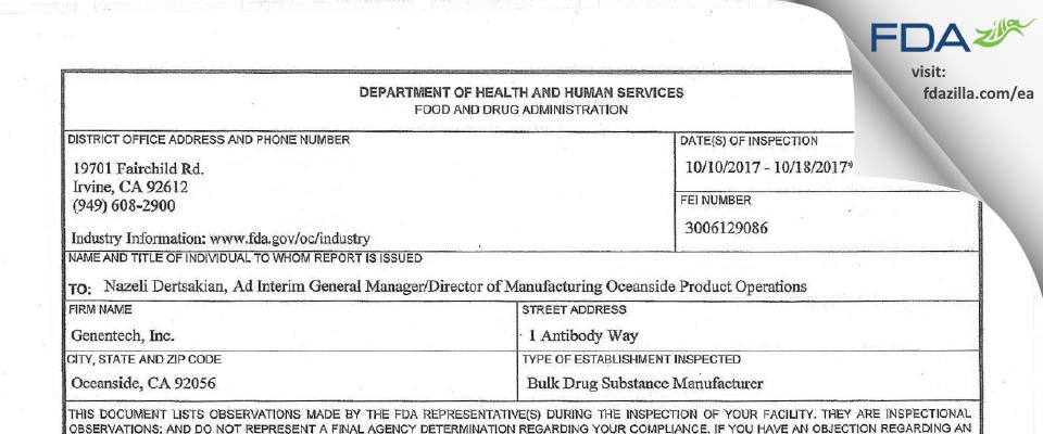 Genentech FDA inspection 483 Oct 2017