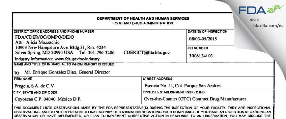 Progela, de C.V. FDA inspection 483 Aug 2015