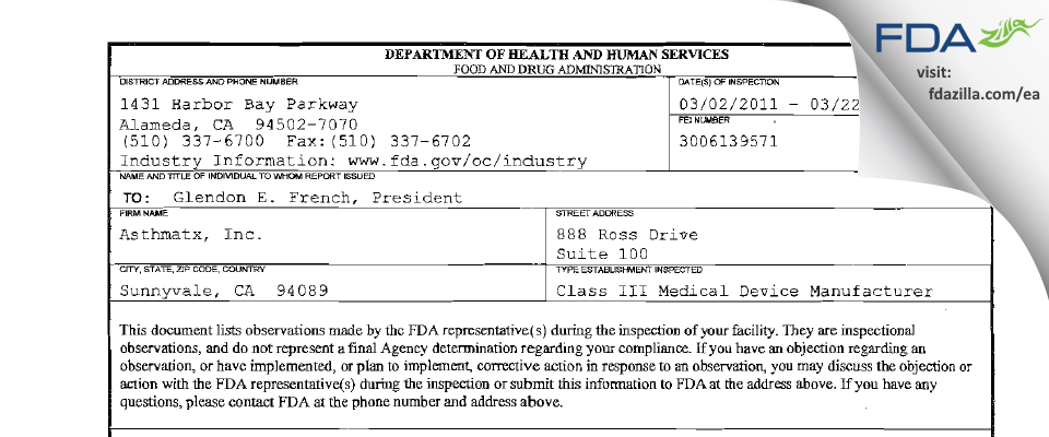 Asthmatx FDA inspection 483 Mar 2011