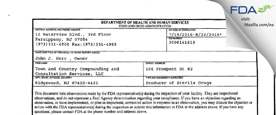 Town and Country Compounding and Consultation Services FDA inspection 483 Aug 2016