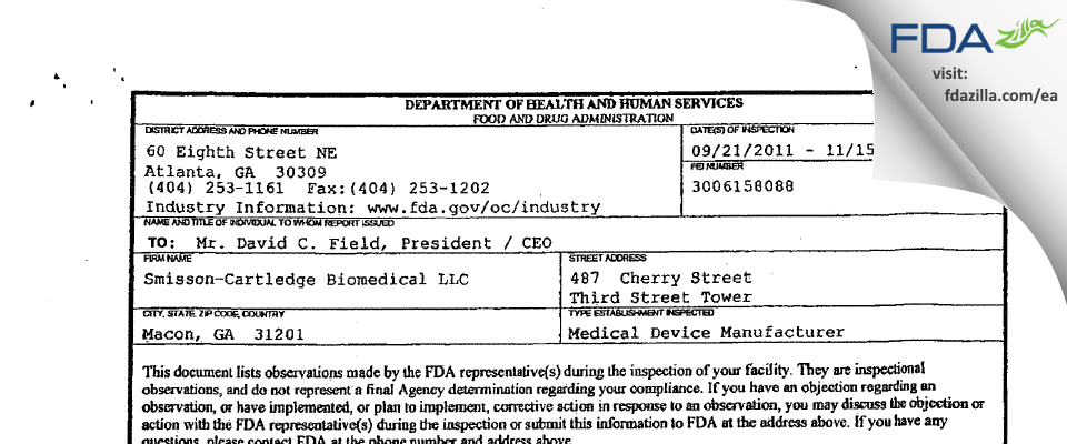 Smisson-Cartledge Biomedical FDA inspection 483 Nov 2011