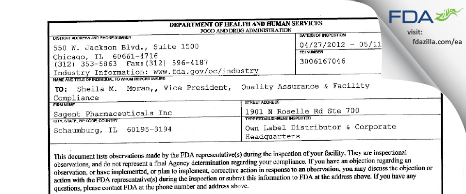 Sagent Pharmaceuticals FDA inspection 483 May 2012