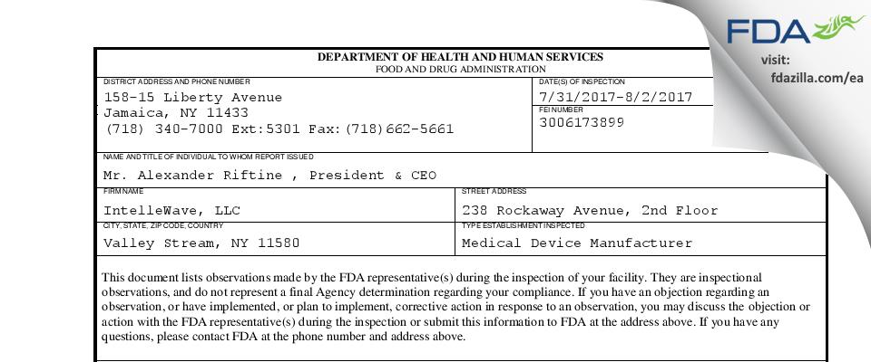 IntelleWave FDA inspection 483 Aug 2017