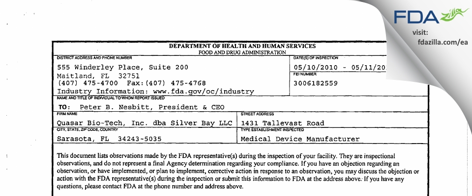 Silver Bay FDA inspection 483 May 2010