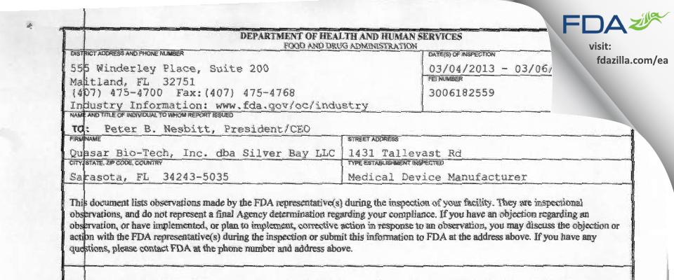 Silver Bay FDA inspection 483 Mar 2013