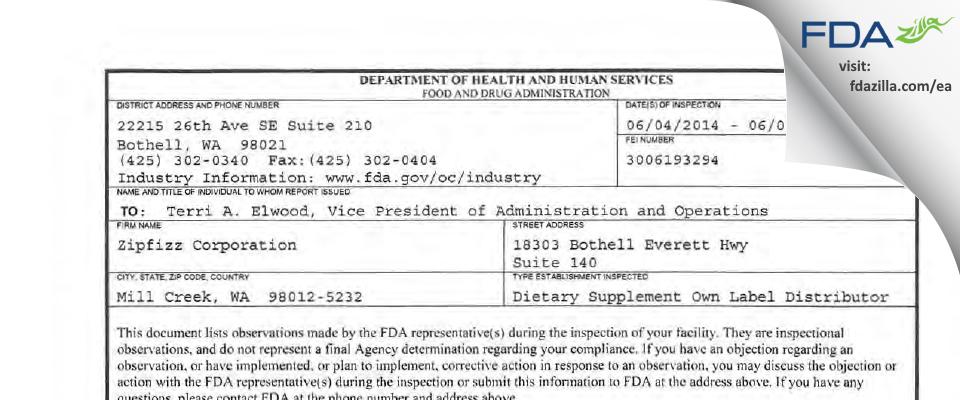 Zipfizz FDA inspection 483 Jun 2014
