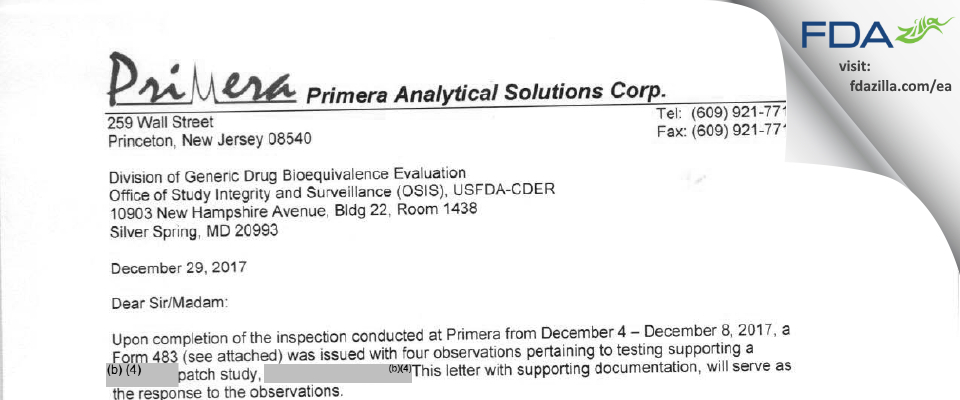 Primera Analytical Solutions FDA inspection 483 Dec 2017