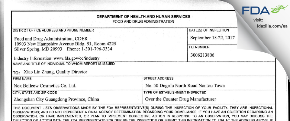 Nox Bellcow Cosmetics FDA inspection 483 Sep 2017