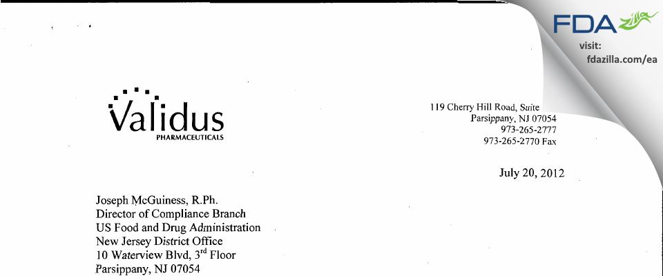 Validus Pharmaceuticals FDA inspection 483 Jul 2012