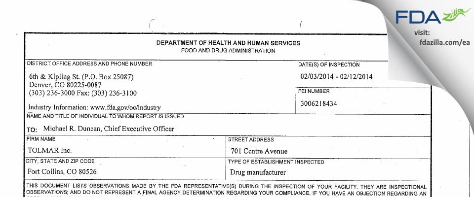 Tolmar FDA inspection 483 Feb 2014