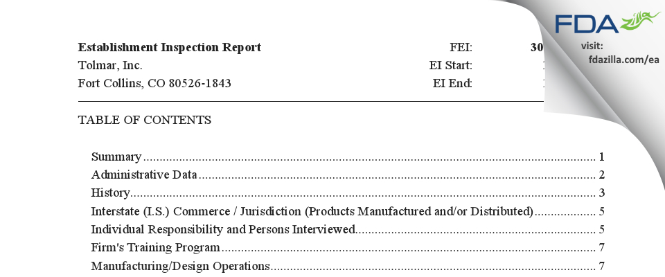 Tolmar FDA inspection 483 Jan 2020
