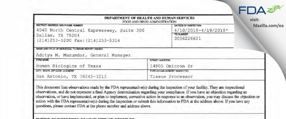 Human Biologics of Texas FDA inspection 483 Apr 2018
