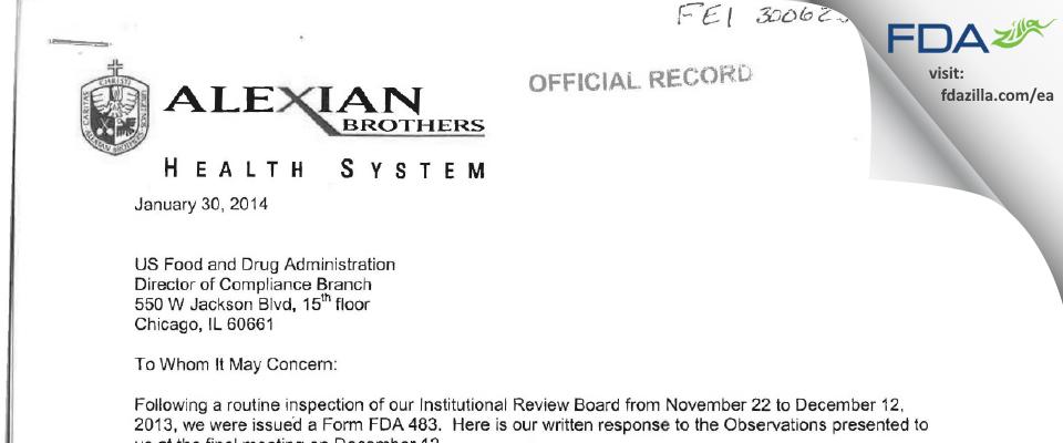 Alexian Brothers Hospital Network IRB FDA inspection 483 Dec 2013
