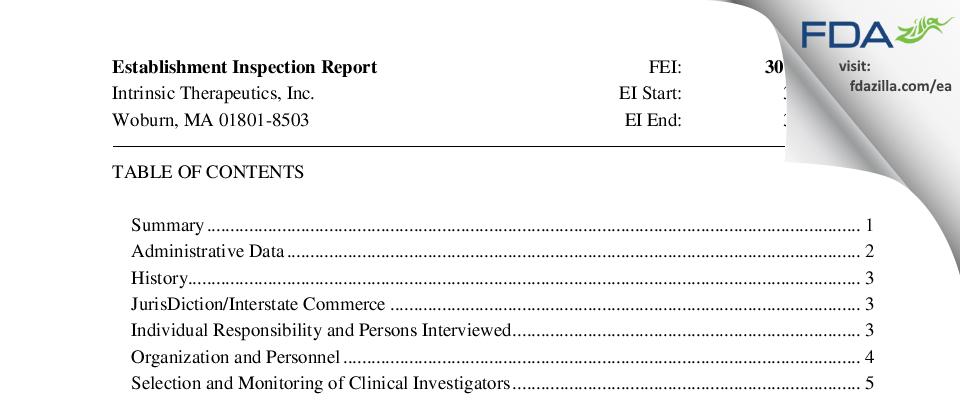 Intrinsic Therapeutics FDA inspection 483 Mar 2017