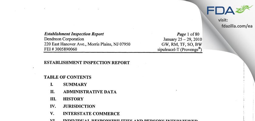 Dendreon FDA inspection 483 Jan 2010