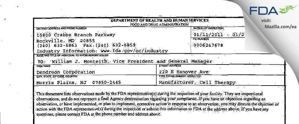 Dendreon FDA inspection 483 Jan 2011