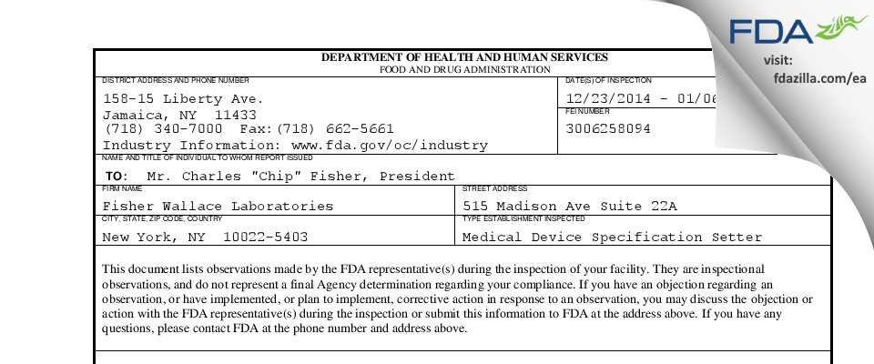 Fisher Wallace Labs FDA inspection 483 Jan 2015