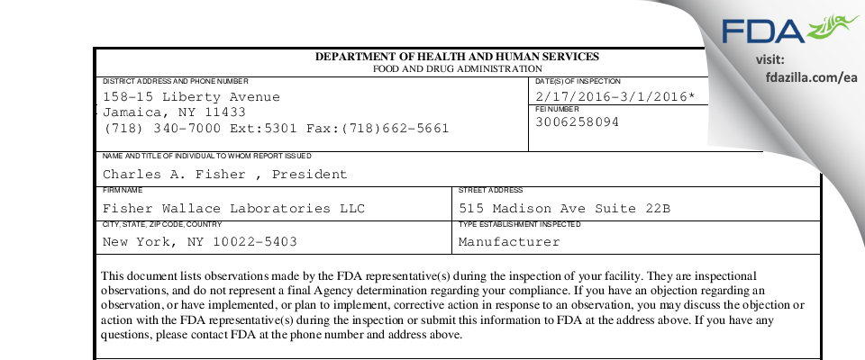 Fisher Wallace Labs FDA inspection 483 Mar 2016
