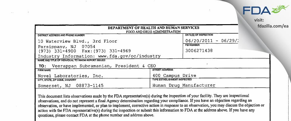 Novel Labs d.b.a LUPIN FDA inspection 483 Jun 2011