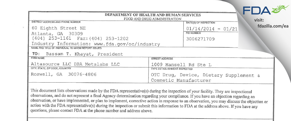 Altasource DBA Metalabs FDA inspection 483 Jan 2014