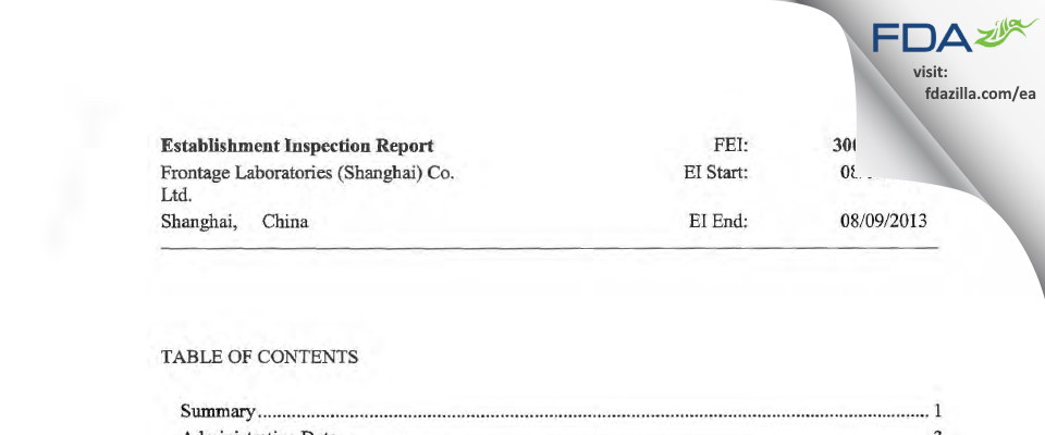 Frontage Labs (Shanghai) FDA inspection 483 Aug 2013