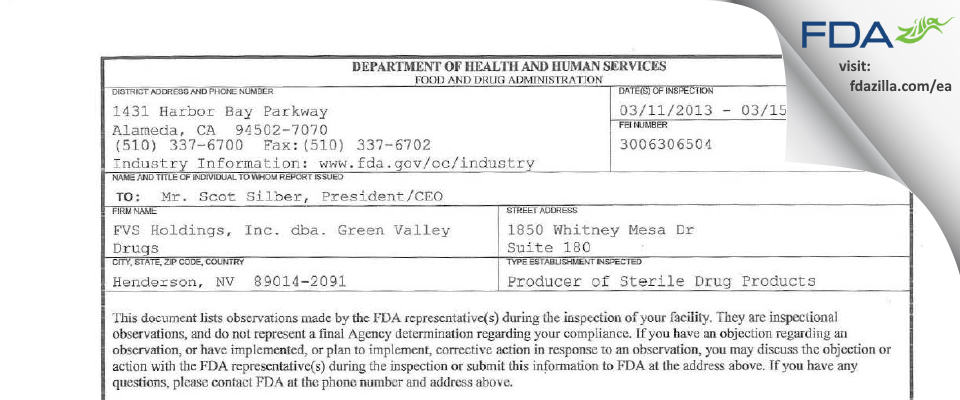 FVS Holdings dba. Green Valley Drugs FDA inspection 483 Mar 2013