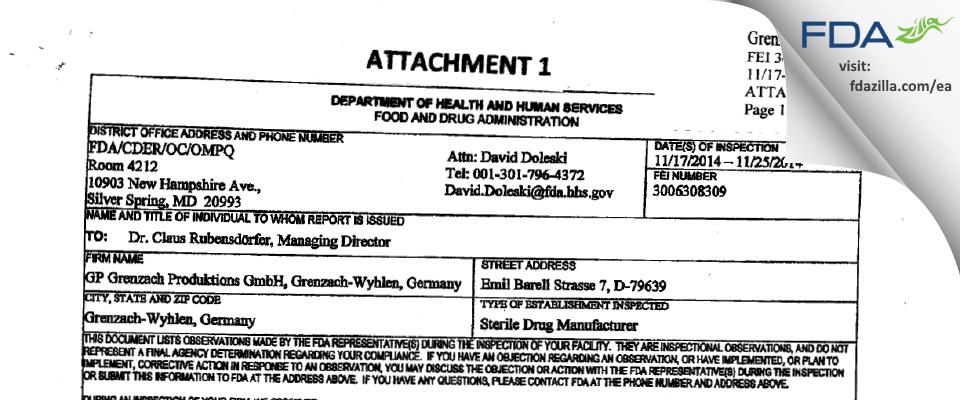 GP Grenzach Produktions Gmbh FDA inspection 483 Nov 2014