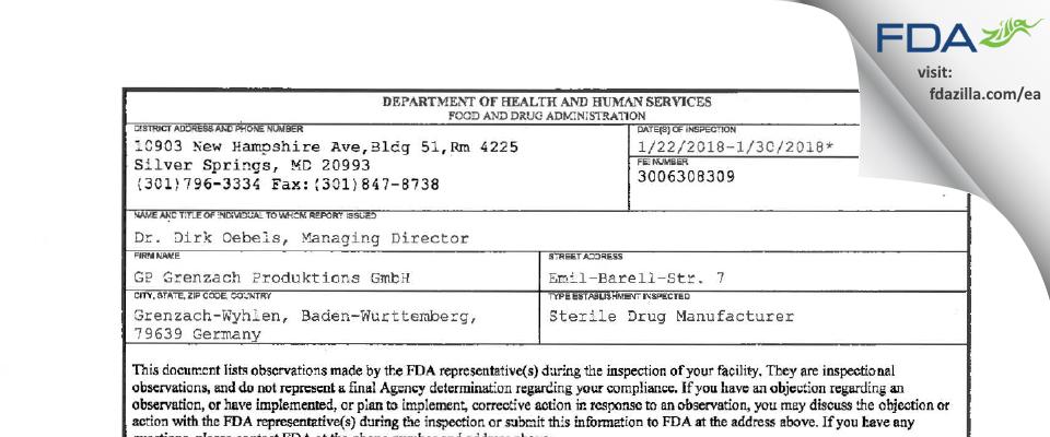 GP Grenzach Produktions Gmbh FDA inspection 483 Jan 2018