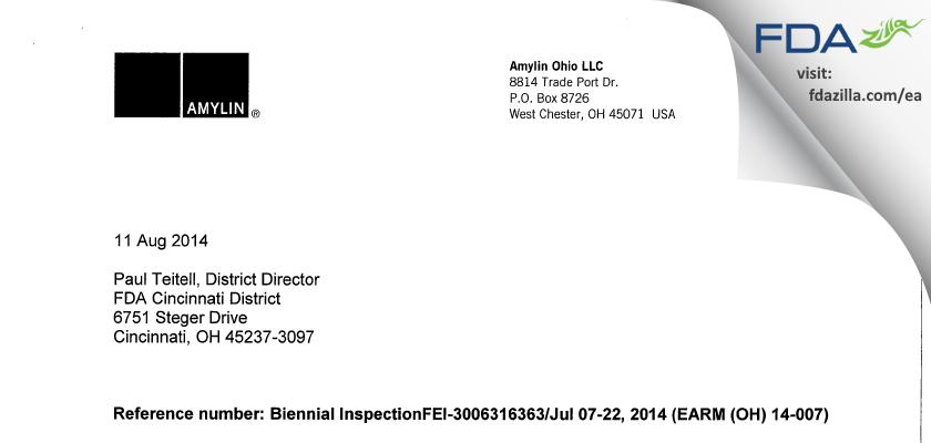 Amylin Ohio FDA inspection 483 Jul 2014